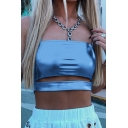 Cool Street Girls' Sleeveless Cut Out Front Leather Plain Crop Cami for Nightclub