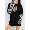 Loose Fit Long Sleeve Crew Neck Patchwork Checkerboard Print Flame Pattern Girls' Black Streetwear Tee