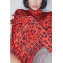Hot Women's Glove Sleeve High Neck Leopard Printed Slim Fit Bodysuit