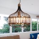1 Bulb Metallic Cage Ceiling Pendant 12