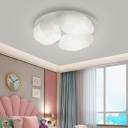 3 Lights Bedroom Flush-Mount Light Fixture Modernist White Flush Mount Lamp with Cloud Plastic Shade