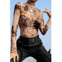 Trendy Street Long Sleeve Mock Neck Floral Pattern Semi-Sheer Khaki Mesh Fitted Crop T-Shirt for Female