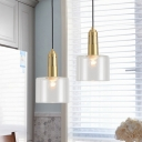 Modern Cylinder Hanging Light Clear Glass 1 Head Dining Room Pendant Light Fixture