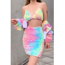 Stylish Girls' High Waisted Zip Back Fluffy Tie-Dye Pink Tight Short Skirt for Party