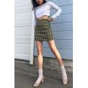 Fashion Girls' High Waist Plaid Pattern Zip Side Short A-Line Skirt in Green
