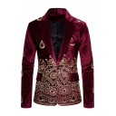 Mens Popular Retro Floral Embroidery Print Long-Sleeved One Button Velvet Tuxedo Blazer