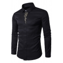 Mens Luxury Embroidery Hidden Placket Long Sleeves Turndown Collar Button Up Plain Fitted Shirt