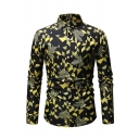 Metrosexual Men's Allover Geometric Print Long Sleeves Button Up Creative Shirt