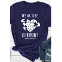 Creative Heart Jigsaw Puzzle IT'S OK TO BE DIFFERENT Print Short Sleeve Graphic T-Shirt