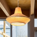 Vase Shaped Woven Hanging Light 1 Head Bamboo Asian Pendant Light in Natural Wood