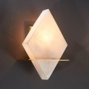 Gold 1-Light Flush Mount Colonial Marble Rhombus Wall Mounted Lamp for Dining Room