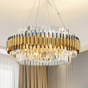 Round Crystal Hanging Pendant Light Contemporary 12/16-Light Golden Chandelier