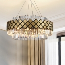 Simplicity Round Mesh Chandelier Light Clear Crystal Glass 12-Light Golden Ceiling Pendant