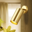 Cylindrical Wall Mount Light Contemporary Metallic 1 Head Surface Wall Sconce in Gold