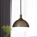 Dome Suspension Light Modernist Metal 1 Bulb Black Hanging Lamp Kit for Living Room