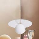 Globe Pendant Lamp Modern White Glass 14