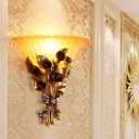 1 Bulb Sandblasted Glass Wall Light Vintage Style Golden Flared Sconce Light Fixture