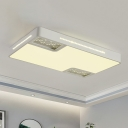 Acrylic Rectangle Ceiling Light Simple Style White LED Flush Mount Light with Crystal Beaded Accent