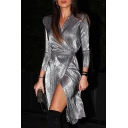 Fashion Grey Long Sleeve Surplice Neck Bow-Tie Waist Slit Front Midi Wrap Dress for Ladies