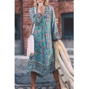 Ethnic Ladies' Bell Sleeve Deep V-Neck Floral Pattern Pleated Maxi Boho Flowy Dress in Blue