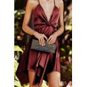 Ladies' Formal Plain Sleeveless Surplice Neck Bow Tied Front Asymmetric Pleated Midi A-Line Cami Dress for Prom