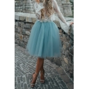 Unique Cute Girls' Elasticated Waist Tiered Mesh Plain Pleated Flared A-Line Skirt for Party