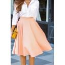 Ladies' Trendy Elegant High Waist Pleated Midi Flared A-Line Skirt in Pink