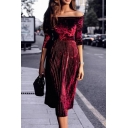 Formal Dressy Long Sleeve Off The Shoulder Velvet Plain Pleated Midi A-Line Dress for Ladies