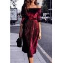 Formal Dressy Long Sleeve Off The Shoulder Velvet Plain Pleated Midi A-Line Dress for Ladies