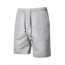 Mens Simple Plain Drawstring Waist Cotton Beach Shorts Flat Front Shorts