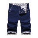 Mens New Trendy Striped Trim Zipper Placket Loose Fit Cotton Flat Front Shorts