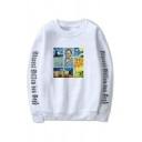 Funny Oil Paint Letter Printed Long Sleeve Crew Neck Loose Sweatshirt