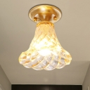 Brass 1 Head Flush Light Colonialism Clear Ribbed Glass Bell/Bowl Ceiling Fixture for Corridor, 6.5