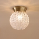 Ripple Glass Brass Ceiling Light Orb Single Head Colonialist Flush Mount Lighting for Living Room