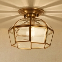 1 Bulb Beveled Ceiling Mount Colonial Brass Clear Glass Flush Light Fixture for Foyer