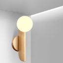 Milk White Glass Ball Shape Wall Sconce Simple 1 Light Golden Wall Mount Light Fixture