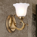 Flower Milky Glass Wall Lighting Classic Style 1 Light Dining Room Wall Sconce Lamp in Gold