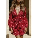 Cute Gorgeous Girls' Long Sleeve Deep V-Neck Floral Print Bow Tie Waist Ruffled Trim Pleated Short A-Line Dress in Red
