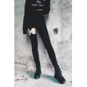Sexy Street Black Mid Rise O-Ring Embellished Hollow Out Full Length Skinny Pants for Female