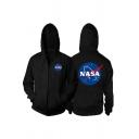 Hot Popular NASA Logo Print Long Sleeve Zip Placket Side Pocket Casual Sports Hoodie