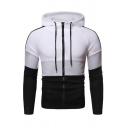 Mens Casual Colorblocked Striped Long Sleeve Zip Up Slim Fit Drawstring Hoodie