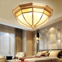 White Glass Bowl Ceiling Mount Colonialism 3/4/6 Bulbs Living Room Flush Light Fixture in Brass, 14