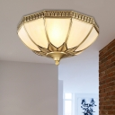Bowl Milky Glass Ceiling Mounted Fixture Colonial 3 Bulbs Living Room Flush Mount Ceiling Lamp in Brass