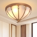 Brass 3/4 Heads Flush Mount Lamp Colonialism White Glass Scalloped Ceiling Light for Bedroom