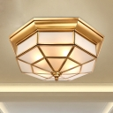 Brass 4/6 Heads Flush Mount Lamp Colonialism Sandblasted Glass Prismatic Ceiling Fixture for Living Room, 17