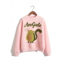 Funny Avocado Letter Printed Mock Neck Long Sleeve Pullover Sweatshirt in Pink