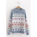 Girls Lovely Cartoon Duck Cow Printed Long Sleeve Crewneck Knitted Pullover Sweater