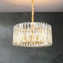 Round Tri-Sided Crystal Rod Hanging Ceiling Lamp Postmodern 8/10 Heads Gold Chandelier Light