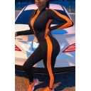 Unique Fashion Girls' Long Sleeve Deep V-Neck Zipper Front Contrasted Long Tight Stretchy Jumpsuit