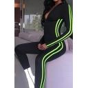 Black Long Sleeve Deep V-Neck Contrast Stitch Skinny Long Jumpsuit for Gym Girls